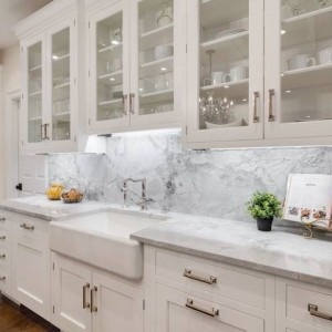 Grey Kitchen Cabinets With White Subway Tiles
